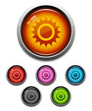 Sun button icon. Glossy sun button icon set in 6 colors Royalty Free Stock Photos