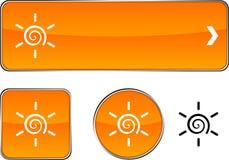 Sun  button set. Stock Photo