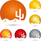 Sun and cactus, turism and travel logo Stock Photography