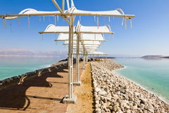 Sun canopies on the beaches of the dead sea Stock Images