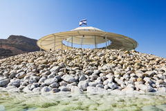 Sun canopies on the beaches of the dead sea Royalty Free Stock Image