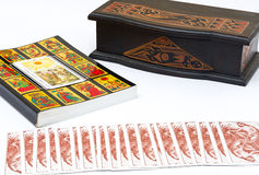 The sun Card. The book of the Tarot , with foreground The Sun card Stock Photography