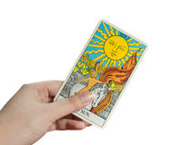 The Sun card, Tarot card on white background. Stock Photo