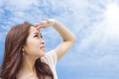 Sun Care. Girl Protecting Herself From Sunshine stock images