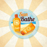 Sun care creams on the beach. Vector Royalty Free Stock Photography