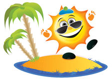 Sun Cartoon On The Beach Stock Image