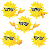Sun cartoon character with black sunglasses set Stock Image