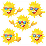 Sun cartoon character with blue sunglasses set Royalty Free Stock Image