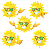 Sun cartoon character with green sunglasses set Royalty Free Stock Photos