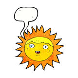 Sun cartoon character with speech bubble Royalty Free Stock Photography