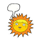 Sun cartoon character with speech bubble Stock Image