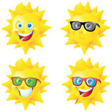 Sun cartoon character with sunglasses set Stock Images