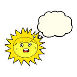 Sun cartoon character with thought bubble Stock Photography