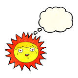 Sun cartoon character with thought bubble Royalty Free Stock Photography