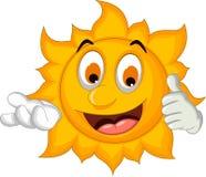 Sun cartoon thumb up Stock Photos