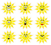 Sun cartoons with many faces isolated on white background Royalty Free Stock Photos