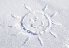 Sun carved in snow Stock Image
