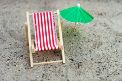 Sun chair and umbrella Royalty Free Stock Photo