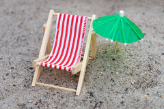 Sun chair and umbrella Royalty Free Stock Images