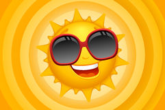 Sun character with background Royalty Free Stock Photo