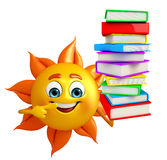 Sun Character With Books pile Royalty Free Stock Photos