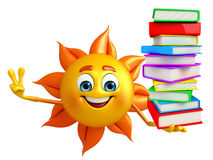 Sun Character With Books pile Royalty Free Stock Image