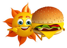 Sun Character with burger Stock Image