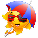 Sun character cartoon with sunglasses and umbrella Royalty Free Stock Photo