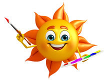 Sun Character With Color plate Stock Photos