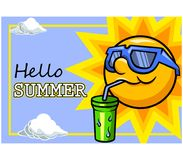 Sun Character And Cool Drink. Vector illustration design for summer season greeting Royalty Free Stock Photo