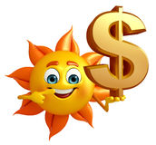 Sun Character With dollar sign Stock Images