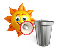 Sun Character With  dustbin Royalty Free Stock Photos