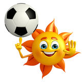 Sun Character With football Royalty Free Stock Photography