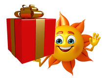 Sun Character With gift box Royalty Free Stock Photos