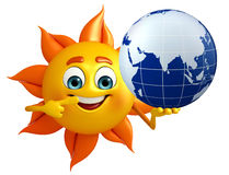 Sun Character With globe Stock Photography