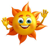 Sun Character is helllo Stock Photo