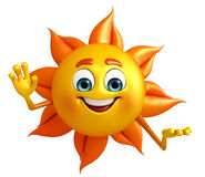 Sun Character With hello pose Royalty Free Stock Photography