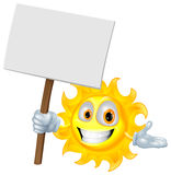 Sun character holding a sign board. Illustration of a sun character holding a sign board Royalty Free Stock Images