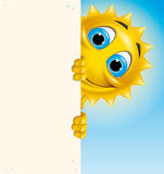 Sun character holding a vertical banner. Illustration of a Cartoon sun character holding a vertical banner Stock Photo