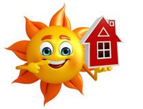 Sun Character With home Stock Photos