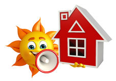 Sun Character With home Stock Images