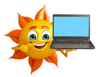 Sun Character With Laptop Royalty Free Stock Image