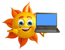 Sun Character With Laptop Stock Photo