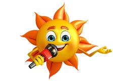Sun Character With mike Stock Photo