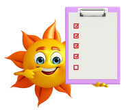 Sun Character With notepad Royalty Free Stock Photos