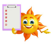 Sun Character with notepad Royalty Free Stock Images