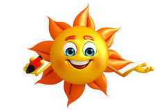 Sun Character With pen Royalty Free Stock Photos