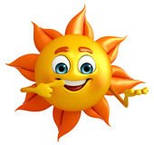 Sun Character is pointing Stock Photos