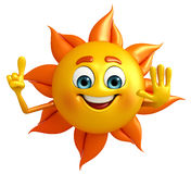 Sun Character is pointing Stock Images