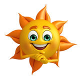 Sun Character with promise pose Royalty Free Stock Photo